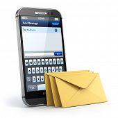 Mobile phone with short message service. Sms on the screen. 3d