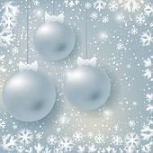 Abstract christmas card with silver balls on winter  background
