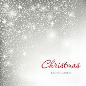 Abstract christmas card with silver snowballs background and  snowflakes