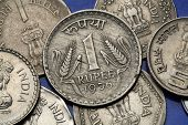 Coins of India. Two stalks of wheat depicted in the Indian one rupee coin.