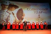 MOSCOW - OCTOBER,7 : N. Mikhalkov with Cossack Choir. Premiere of the movie Solnechny Udar, October,7 , 2014 at Octyabr Cinema in Moscow, Russia