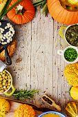 Pumpkin soup - Traditional seasonal pumpkin soup, space for text