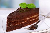 Piece of chocolate cake on plate on light background