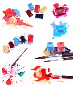 Collage of watercolor paints isolated on white