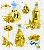 Watercolor Drawn Olive Oil Retro Style