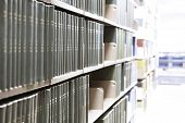 stock photo of book-shelf  - Old library books  - JPG