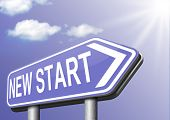 new fresh start or chance back to the beginning and do it again road sign arrow