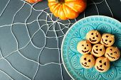 image of spiderwebs  - Tasty Halloween macaroons decorative spiderweb - JPG