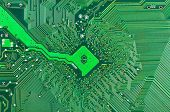 picture of microprocessor  - Close up of a printed green computer circuit board - JPG