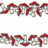 Toadstool mushrooms double horizontal border on white