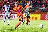 Sisaket Thailand-october 22: Brent Mcgrath Of Sisaket Fc. Take Penalty Kick During Thai Premier Leag