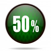 50 percent green internet icon