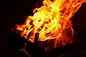 pic of brazier  - Bonfire in brazier - JPG