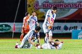 Sisaket Thailand-october 22: Players Of Air Force Central Fc. In Action During Thai Premier League B