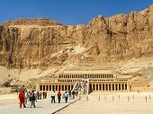 Tourists at the Great Temple of Hatshepsut, Luxor, Egypt