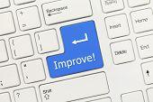 White Conceptual Keyboard - Improve (blue Key)