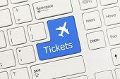 White Conceptual Keyboard - Tickets (blue Key With Aeroplane Symbol)