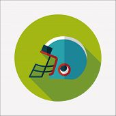image of football helmet  - American Football Helmet Flat Icon With Long Shadow - JPG