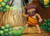 illustration of a caveman in the jungle