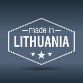Made In Lithuania Hexagonal White Vintage Label