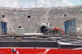 People Inside Arena Verona  In Preparation For The Annual Festival Of Opera