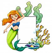 illustration of a mermaid and a sign