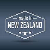Made In New Zealand Hexagonal White Vintage Label