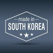 Made In South Korea Hexagonal White Vintage Label