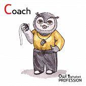 Alphabet professions Owl Letter C - Coach Vector Watercolor.