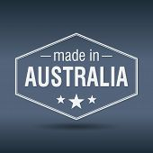 Made In Australia Hexagonal White Vintage Label