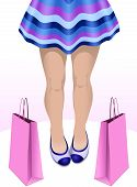 picture of mini-skirt  - Low section of a girl with slim legs in mini skirt with her shopping bags - JPG