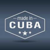 Made In Cuba Hexagonal White Vintage Label