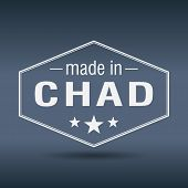 Made In Chad Hexagonal White Vintage Label