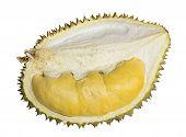 Close Up Of Peeled Durian Isolated On White Background