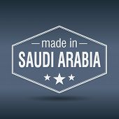 Made In Saudi Arabia Hexagonal White Vintage Label