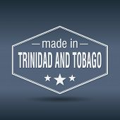 Made In Trinidad And Tobago Hexagonal White Vintage Label