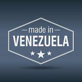 Made In Venezuela Hexagonal White Vintage Label