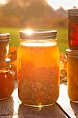 Glass jar of home canned chicken soup in autumn sunlight