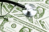 Stethoscope on American banknotes