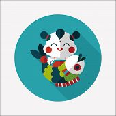 Chinese New Year Flat Icon With Long Shadow,eps10 Chinese Mascot Means
