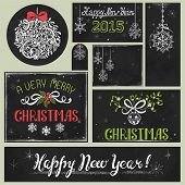 picture of chalkboard  - Collection of holiday drawing on chalkboard - JPG