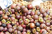Mangosteen On The Street Market In Thailand
