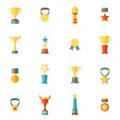 stock photo of prize  - Award icons flat set of trophy medal winner prize champion cup isolated vector illustration - JPG