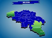 3 dimensional infographics political map of Belgium, with every province easy selectable and editabl