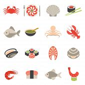 picture of oyster shell  - Seafood fish menu restaurant icons set flat with crab shrimps shell roll isolated vector illustration - JPG