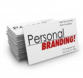stock photo of promoter  - Personal Branding words on business cards to advertise your company - JPG
