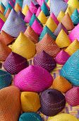 stock photo of conic  - the composition of colorful conical woven bamboo - JPG