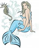 Sitting mermaid and seahorse