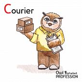 Alphabet professions Owl Letter C - Courier Vector Watercolor.