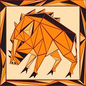 Chinese Horoscope Stylized Stained Glass - Pig.eps